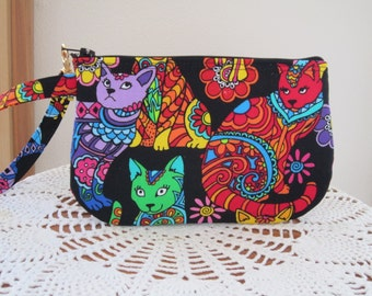Clutch Wristlet Zipper Gadget Pouch Purse in Colorful Groovy cats Made in the USA