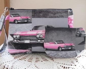 Retro Pouch Clutch Wristlet Zipper  Bag Set Smart phone Case Pink Cadillac