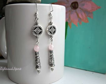 Silver long dangle earrings with rose quartz, pink, silver, romance stone