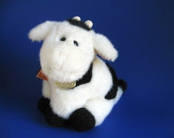 Vintage Cow Stuffed Animal by GUND Kids Toy Udders 1980s Toy Moo Cow Black Cow Milk Cow Farm Animal Horns Cow Bell Hang Tag