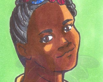 Patty Tolan, Ghostbusters, Artist Trading Card, ACEO, art card, Original art, Ink, Marker, OOAK