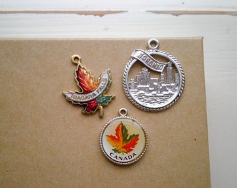Canada Toronto Niagara Falls Maple Leaf Design Cloisonne Souvenir Charms - Vintage Enamel & Sterling Silver Charm Lot Canadian Pride Charms
