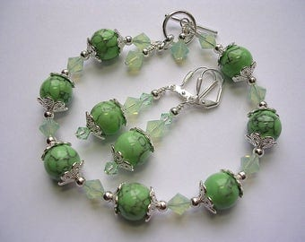 Green Bracelet with Green  Earrings Howlite Stone and Swarovski Crystal Toggle Clasp Silver Leverback Hooks