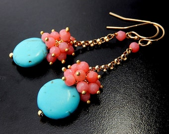 Pink Coral Earrings, Turquoise Drops, Peach Cluster Dangles, Gold Chain Earrings