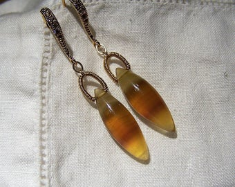 Banded Fluorite elongated briolette,14K goldfilledcoil wrap bail, Crystal hook style earwire, earrings