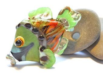 Orange & green fish bead pendant necklace, lampwork glass bead, handmade 'yarn bombed' designer ocean focal bead, SRA art glass, cgge