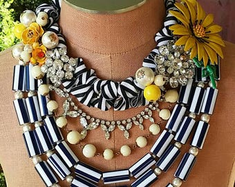 Sunshine and Stripes...a statement Necklace from Wendy Baker