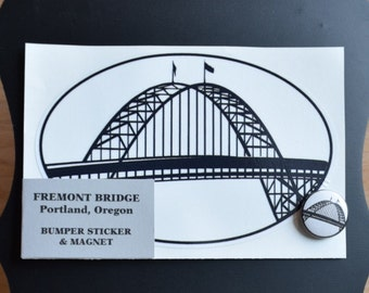 Fremont Bridge - Portland, OR - Bumper Sticker and Magnet Set