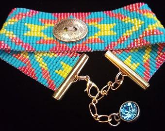 Bright turquoise southwest design bracelet