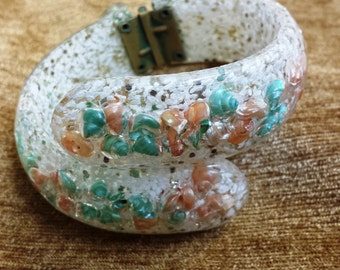 Fabulous Funky Mid Century Acrylic Clamper Bracelet with Confetti and Shells