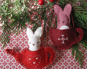 Felt Ornament Pattern - Friends for Tea Bunnies - Sewing and Embroidery Pattern - Christmas Ornament Pattern
