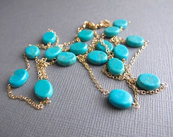 Turquoise and Gold Layering Necklace, Delicate Gold Jewelry, 14K Gold Filled Necklace