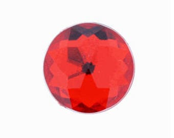 50 Pieces 25mm Round Acrylic Faceted Gem Rhinestone in Red