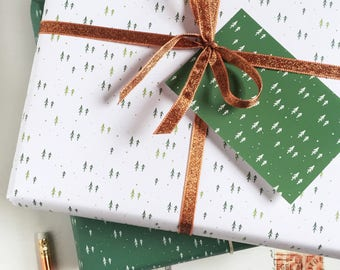 Mini Forest White Wrapping Paper Set - Festive Gift Wrap - Quirky Eco Friendly Paper - Christmas Wrap – Festive Forest Paper