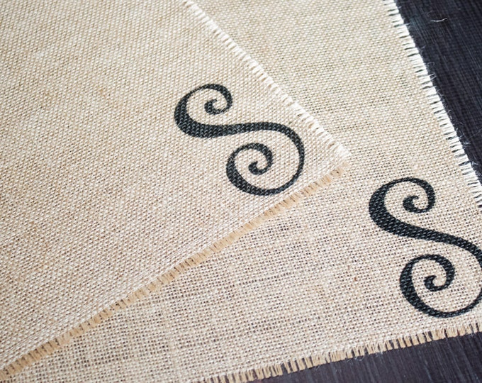 Featured listing image: Monogrammed burlap placemats for farmhouse style cottage chic home decor with a fun whimsical font - set of two personalized custom order