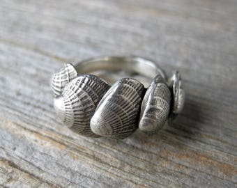 FAN SHELL seashell ring summer beach ring made to order size sterling silver
