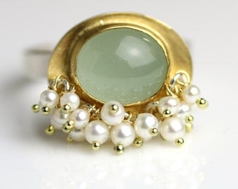 Aquamarine and 22k Gold with Freshwater Pearl Fringe, US size 7 or made to order
