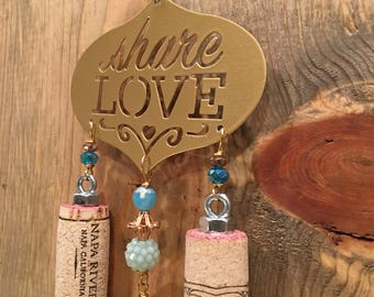 Share Love Gold and Pale Blue Wine Cork Wind Chime