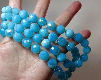 SJK Vintage -- Sigal Geva SG Signed Double Strand Beaded Sky Blue Necklace, Faceted Dyed Gemstones, AB Coating, Designer Couture (1980's)
