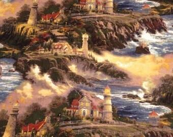 Thomas Kinkade out of print fabric lighthouse seascape landscape dramatic countryside cottage Fat Quarter