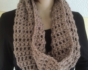 Crochet Mink Brown Infinity Scarf in super soft yarn -Ready to ship
