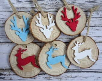 Rustic wood slice Christmas ornaments with reindeer. 6 modern, fun, natural decorations. Red/white/teal blue