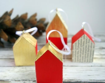 Gold leaf, red and text decoupaged little wood house ornaments. Unusual, original mixed media art Christmas decorations