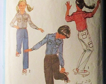 1970s Vintage Sewing Pattern Simplicity 8806 Girls Shirt & Pants Pattern Size 14
