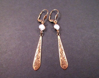 Rhinestone Earrings, Opalite White, Bali Style Drop Earrings, Long Brass Dangle Earrings, FREE Shipping U.S.