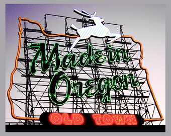Portland, Made In Oregon, White Stag Sign, Canvas or Fine Art Print