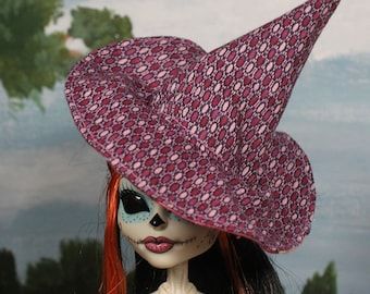 Pink Jewels Witch Hat for Slim Monster and Fashion Dolls