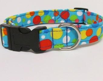 Circles/Dots on Light Blue Printed Handmade Dog Collar