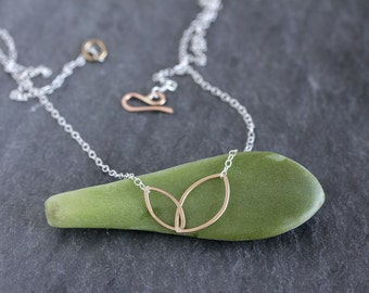Tea Leaves Necklace - Linked Tiny Ellipse Necklace, Asymmetrical, Geometric Design for Everyday Wear, Handmade Hammered Wire Shapes on Chain