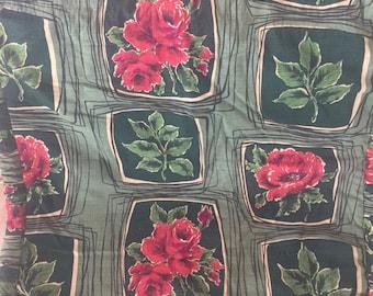 Mid Century Barkcloth Square Pillow Sham Roses Pattern