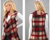 CYBER SALE Monogrammed plaid vest - red and taupe vest - plaid vest - open front vest - vest for women - drape blanket style vest