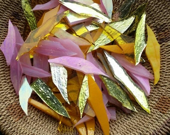 Mirrored Yellow, Iridescent Pink, Opaque Yellow and Translucent Amber Combination Glass Shards for Mosaic Art Designing