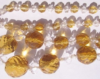 Vintage Graduating Crystal Necklace Strand Amber Crystal Knotted