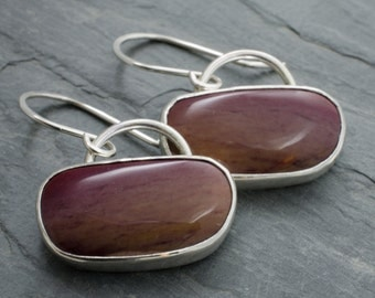 Gemstone Earrings. Jasper Sterling Silver Earrings. Maroon Oval Earrings. Cabochon Silver Jewelry. Romantic Jewelry.