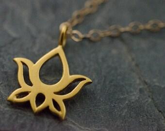 Golden Lotus Pendant. Yoga Necklace. Lotus Necklace. Yoga Jewelry. Gold Vermeil Pendant. Lotus Flower.