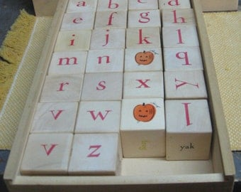 Children's Learning Wooden Alphabet and Picture Blocks in Wooden Box