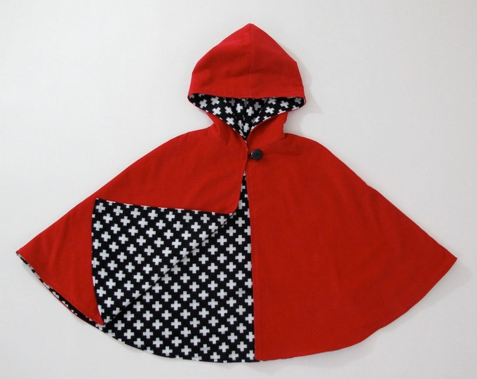 Little Red Riding Hood Girls' Cape with Black & White Flannel Lining - Size 2T - Ready to Ship  - Cloak, Capelet, Coat, Jacket, Poncho