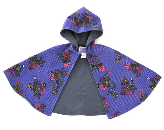 Girls Cape, Baby Cape, Purple Birds Hooded Cape, Girls Capelet, Baby Capelet, Winter Coat, Girls Poncho, Size 3 - 6 Months
