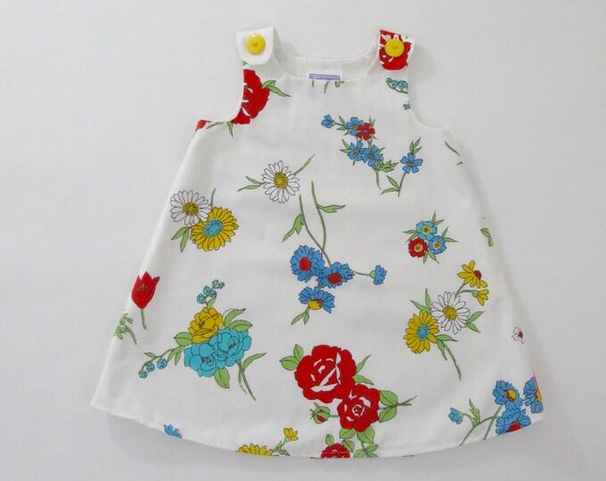 Girls Dress, Tossed Floral Dress on White, Newborn Dress, Baby Dress, Toddler Dress, Girls Dresses, Birthday, Sizes Newborn to Girls 6