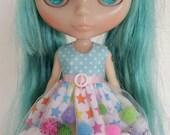 Rainbow stars pom-pom dress for Blythe and Pullip