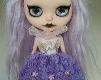 SALE Pink and Purple Flower Unicorn Empress dress for Blythe and Pullip