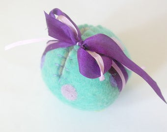 SALE Spring Egg Toy: Sweet Something in 'Tender' (Silk and Wool Hollow Egg with Playsilk and Bunny)