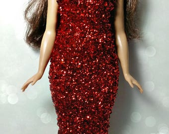Curvy Barbie Doll Dress - Confetti Red Party Gown for Full Sized Barbie