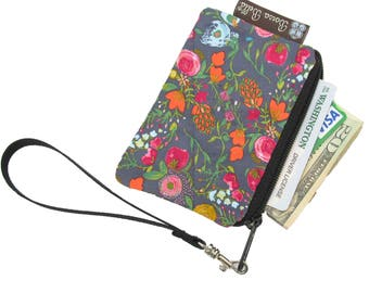 Pixy Roo Small Wristlet - coin purse - credit card purse - Zippered Pouch - Frequent Shopper Card Pouch - FAST SHIPPING - Love Blooms Fabric