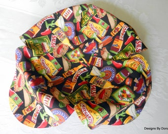 Basket Liner, Table Topper, Centerpiece, Tex-Mex Foods on a Black Background, Handmade Table Linens