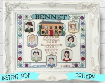 Modern Cross Stitch Pattern  Bennet Family Sampler Cross Stitch Pattern Jane Austen Cross Stitch Embroidery Pattern Pride and Prejudice DIY